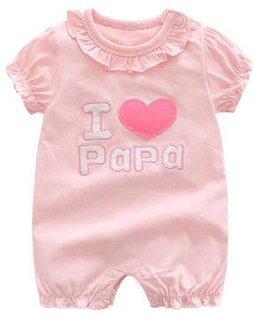 Cute Summer Baby Girl Romper New Born Clothes I Love Papa Mama Twins White and Pink Jumpsuit
