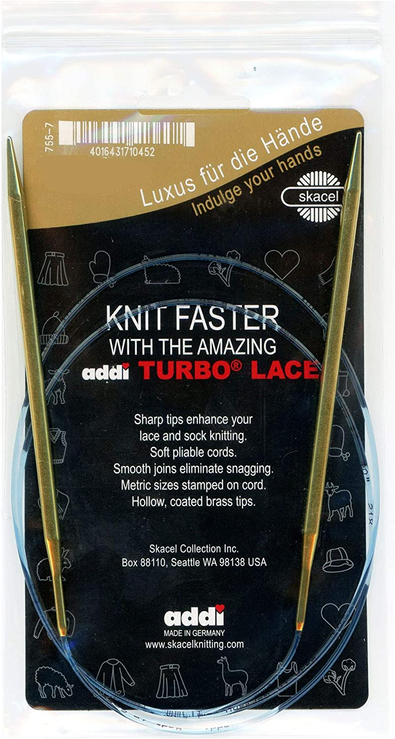 addi Knitting Needle Circular Lace Tip Brass Finish Skacel Exclusive Blue Cord 32 inch (80cm) Size US 05 (3.75mm)
