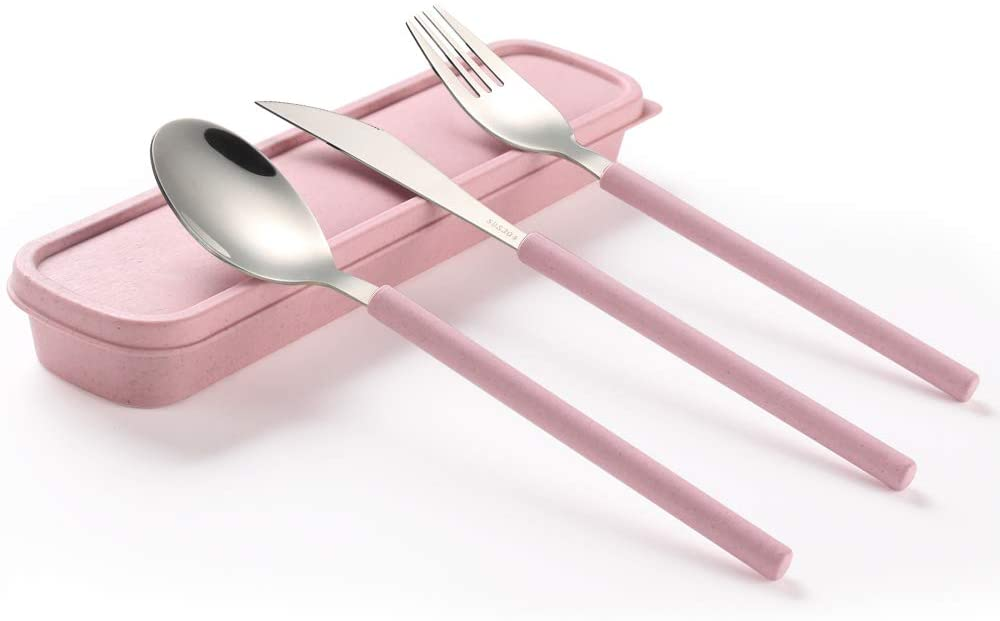 YBOBK HOME Portable Flatware Set with Case Stainless Steel Knife Fork and Spoon Reusable Flatware Set Dishwasher Safe Flatware Utensils with Colored Handle for to Go Anywhere (Pink)