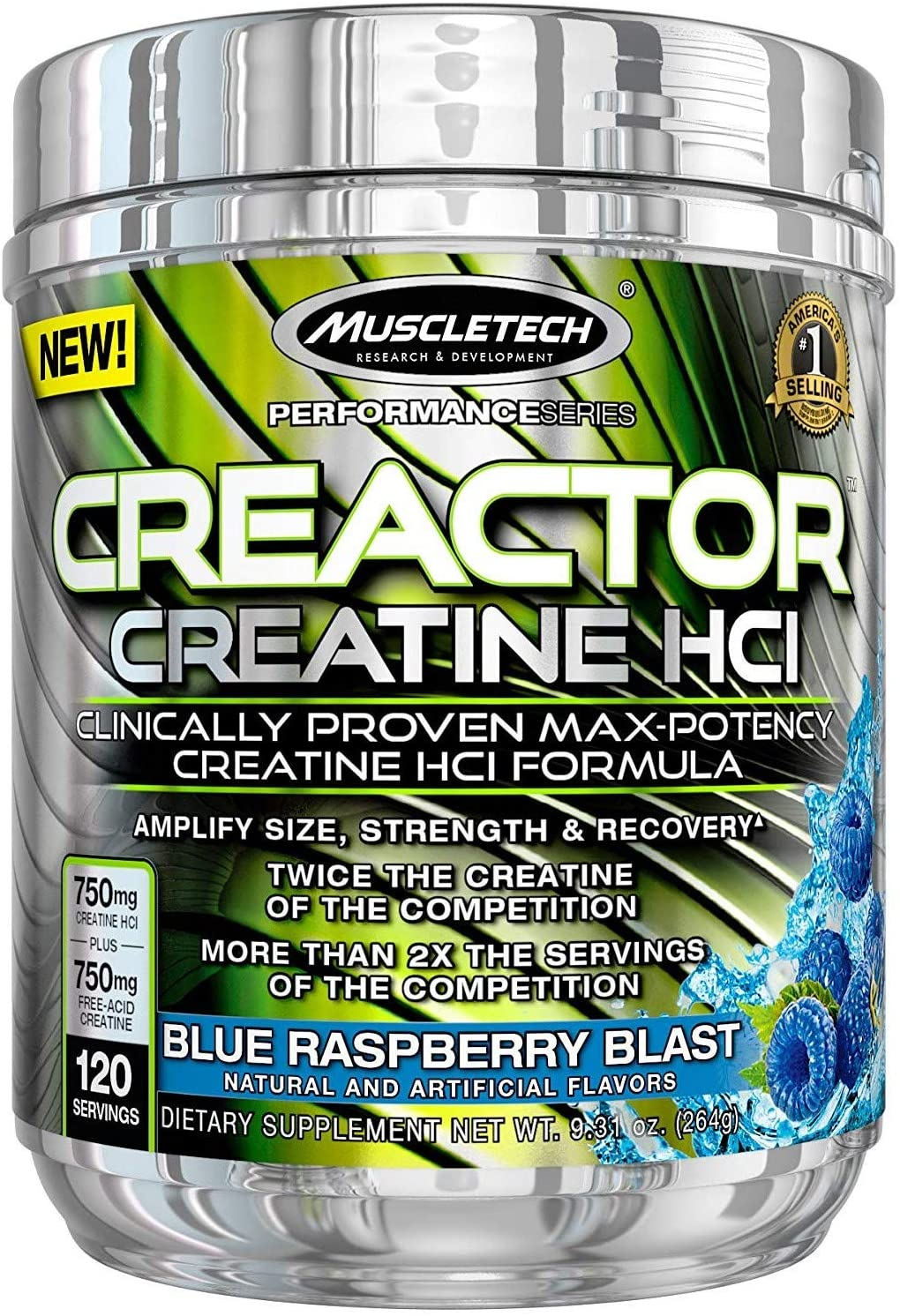 MuscleTech Creactor, Max Potency Creatine Powder, Micronized Creatine and Creatine HCl, Blue Raspberry, 120 Servings (264g)