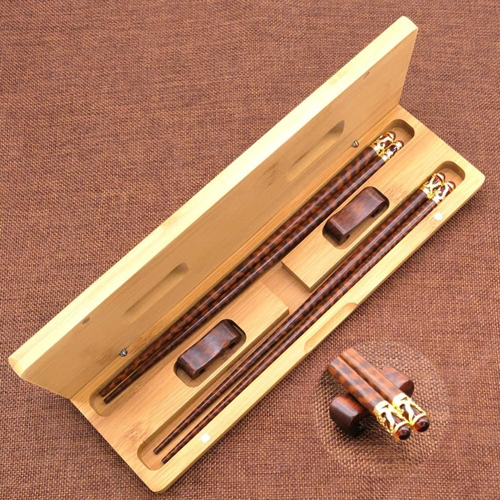 Mihaojianbing Chopsticks - High-end Solid Wood Chopsticks, Serpentine Wooden Chopsticks Glass, High Temperature Resistant, Washable, Non-Rusting Wood Chopsticks - 25cm Long Polishing Technology