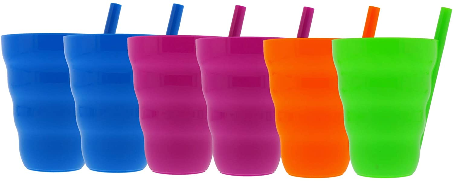 Arrow 10oz Sip A Cup with Built in Straw, 6pk - Straw Cups for Toddlers, Kids Cup with Straw, Plastic Toddler Straw Cup - BPA Free, Dishwasher Safe, Stackable Kids Cup - Purple, Blue, Green, Orange