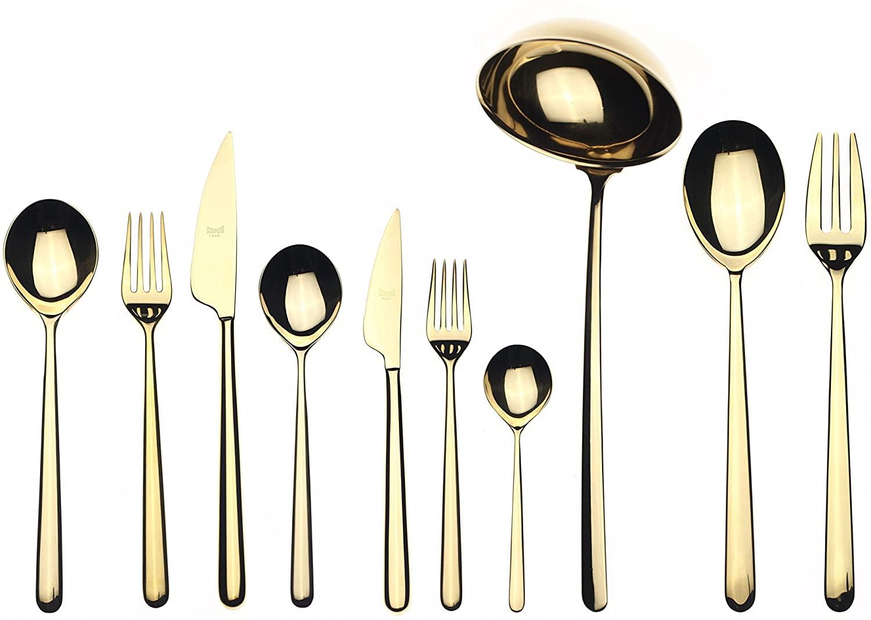 Mepra Linea 45 Pcs Oro Flatware Set – Metallic Tableware, Dishwasher Safe Cutlery