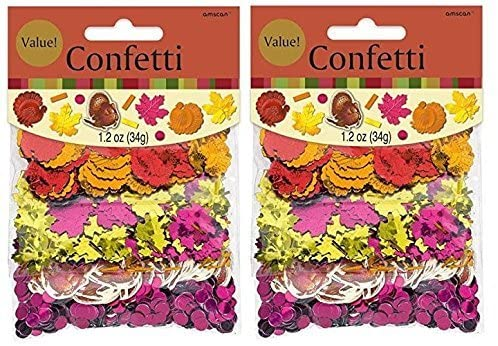 Festive Fall Tableware Party Decorations- Thanksgiving Foil Paper Value Pack Confetti Mix of 3 Styles (Pack of 2)