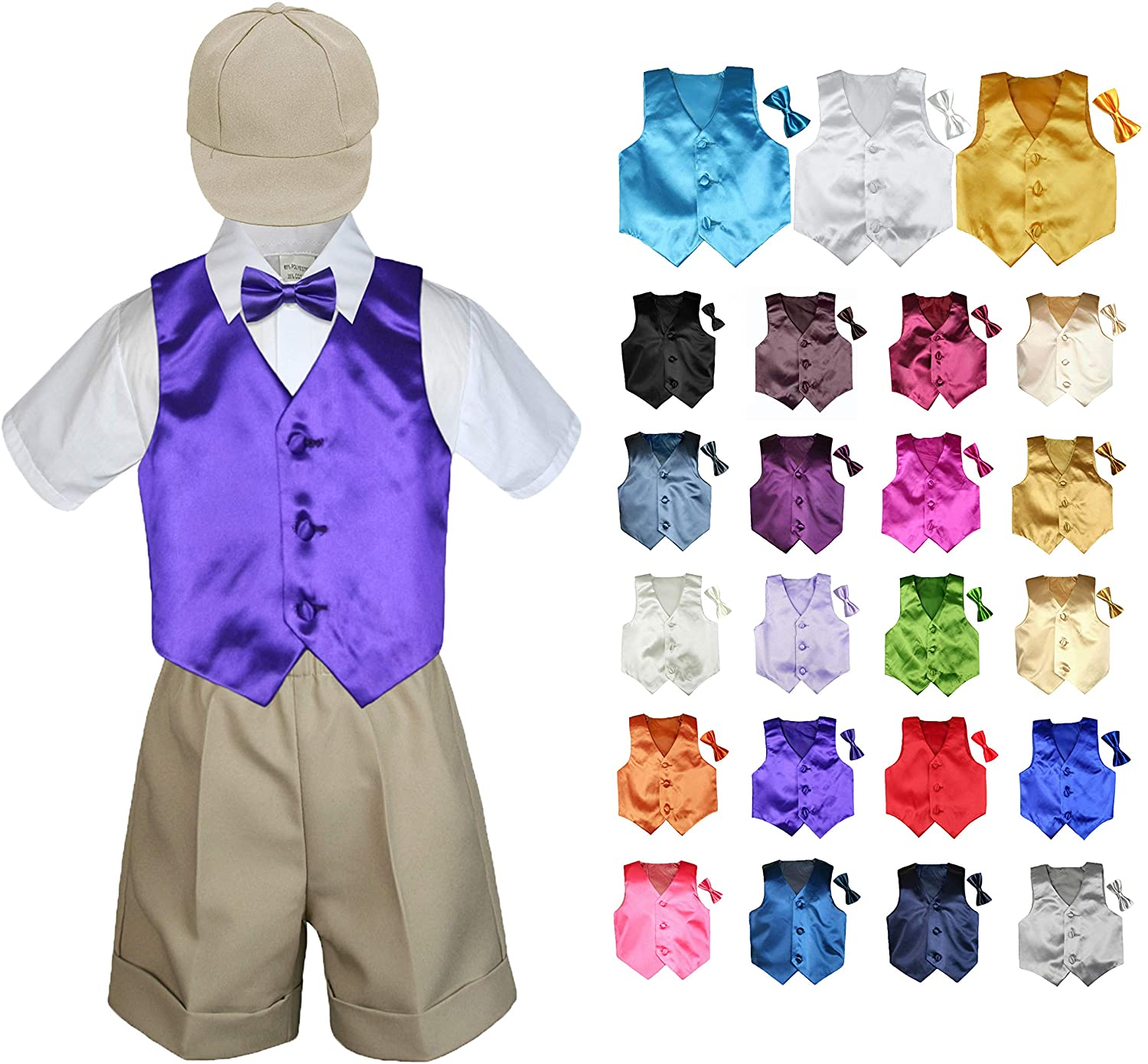 5 Pieces Formal Wedding Color Satin Vest & Bow tie Shirt W/Hat Khaki Shorts Set Baby Boy Toddler Sm-4T (3T, Red)