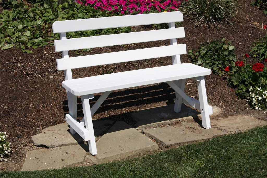 Outdoor 2 Foot Pine Picnic Table Backed Bench ONLY - Painted- Amish Made USA -Canary Yellow