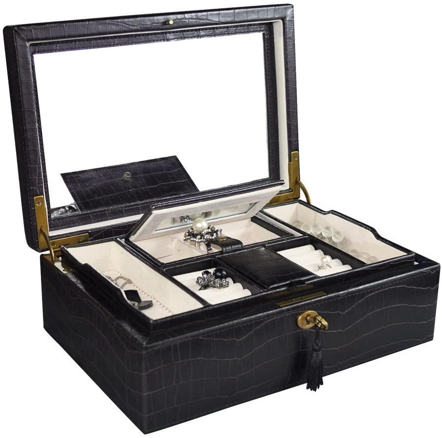 Ikee Design Espresso Brown Crocodile Pattern Luxury Jewelry Leatherette Case