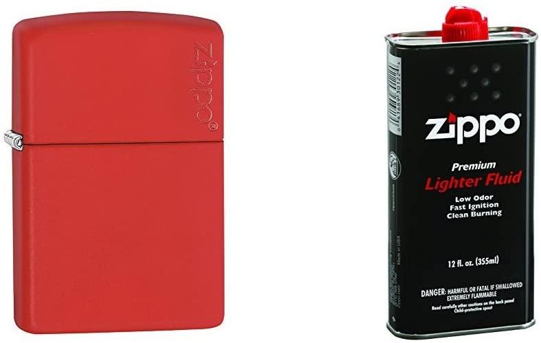 Zippo Logo Red Matte Pocket Lighter with 12 oz Lighter Fluid