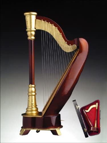 "Simply Classy Grand Brown Harp Music Box Playing ""Music of The Night"""