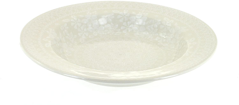 Blue Rose Polish Pottery White Lace Soup Plate