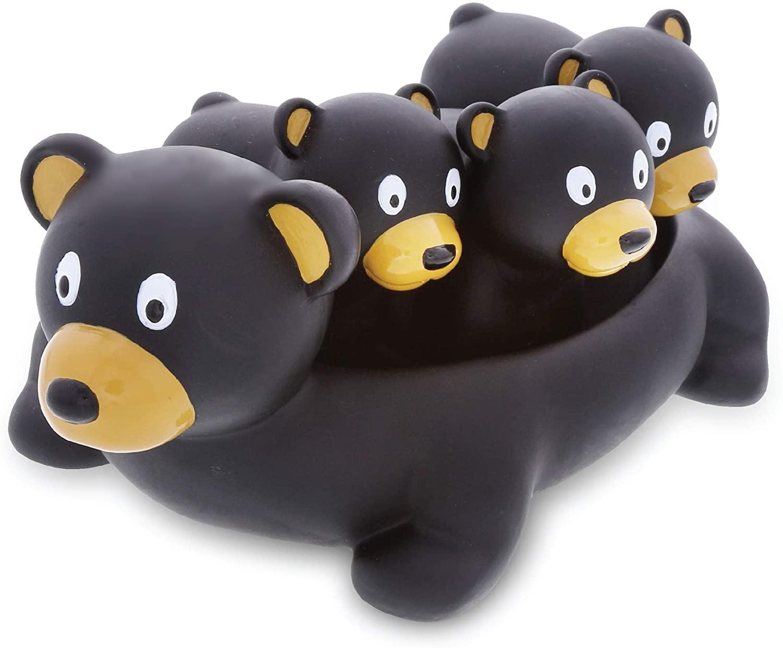 Dollibu Black Bear Family Animal Bath Squirters 4 Piece Bath Toy Set, Children Bath Toys for Bathtime & Water Fun, Girls & Boys Floating Cute Animal Rubber Squirt Toys, Pool Toys for Kids - Black Bear