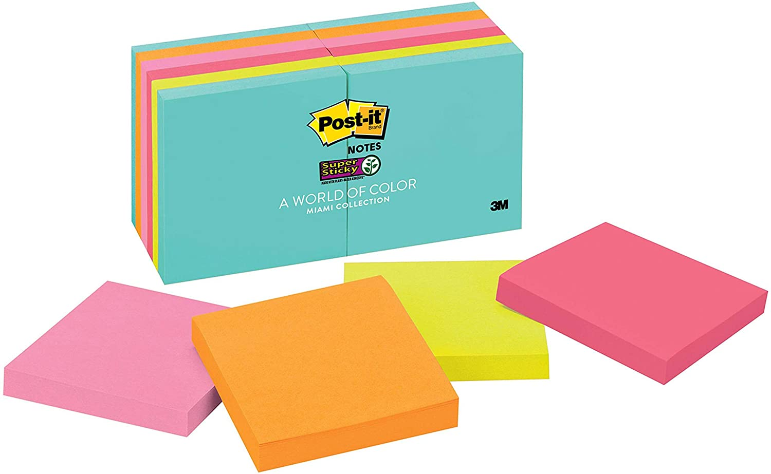 Post-it Super Sticky Notes, Blue, Pink, Green, Orange, Sticks and Resticks, Great for Windows, Doors and Walls, 3 in. x 3 in, 12 Pads/Pack, 90 Sheets/Pad (654-12SSMIA),Multicolor