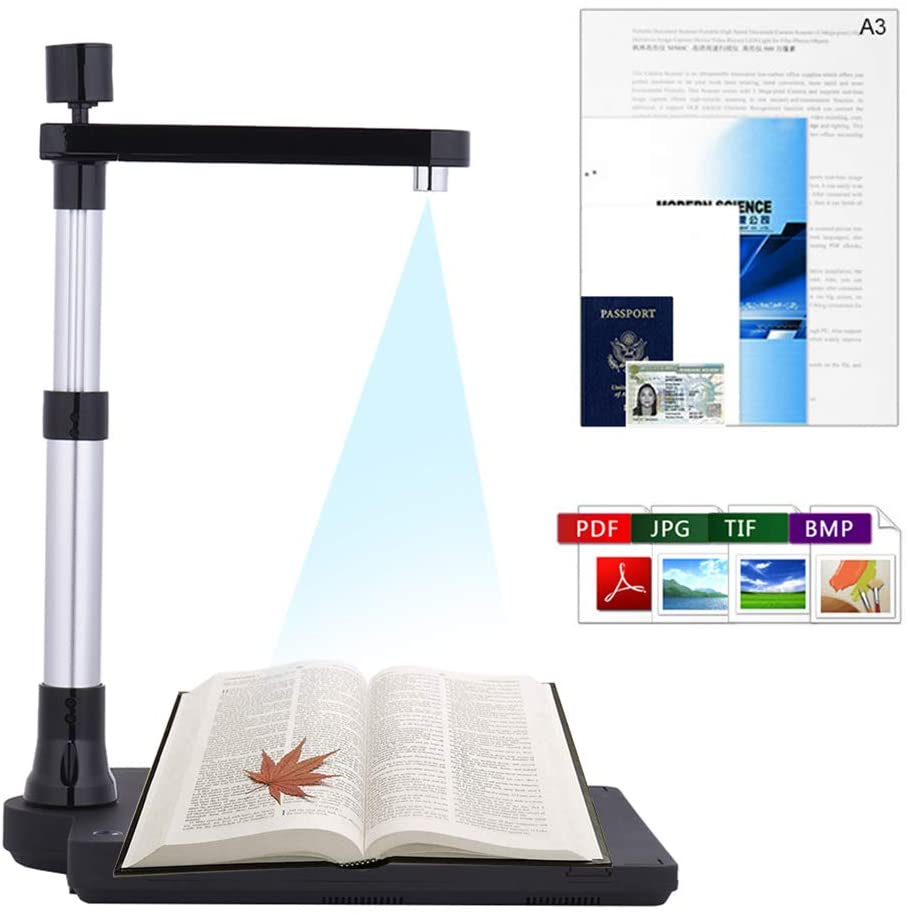 Adjustable HD Document Camera Scanner, Foldable Book Image Camera with Dual Lens, A3 Scanning Size with LED Light, for Classroom Office Library Bank