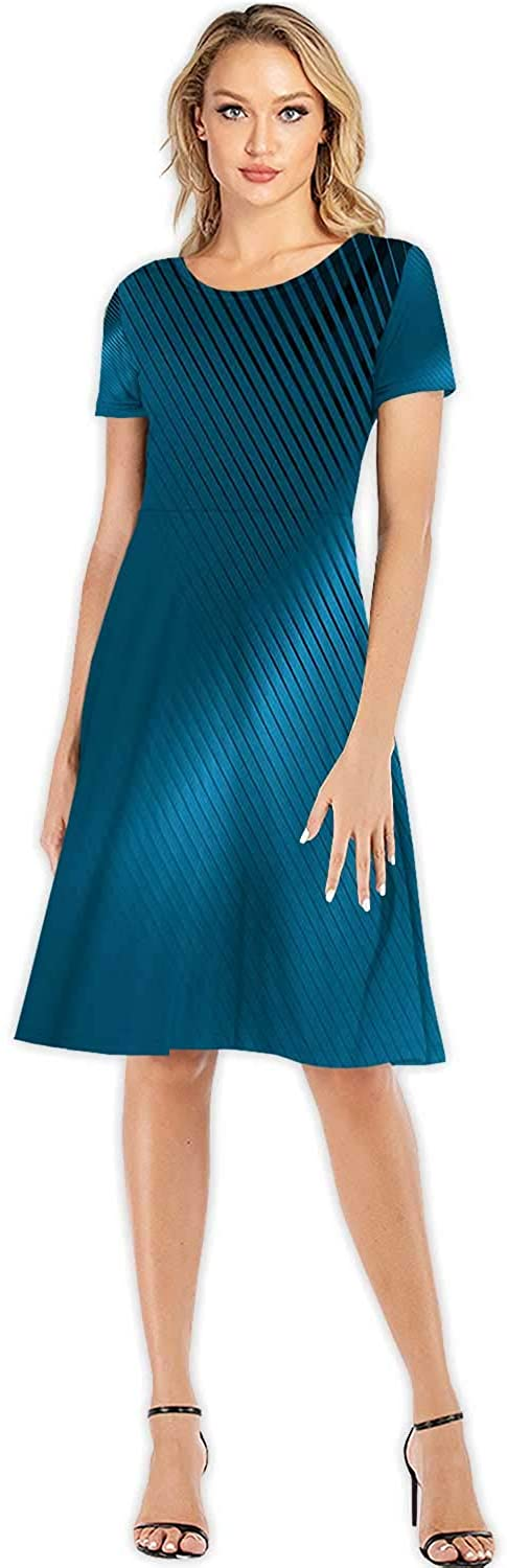 Abstract Blue Stripes Backgrounds,Custom Lady Dress Elegant Dresses Abstract Backgrounds S
