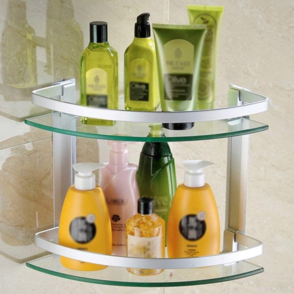 Mr. Bathroom Bathroom Shelf Shower Organiser Wall-Mounted Space Aluminum + Glass Triangular Fence Hollow Drain 6mm Drill Punch 1/2 Layer (Size : 2)