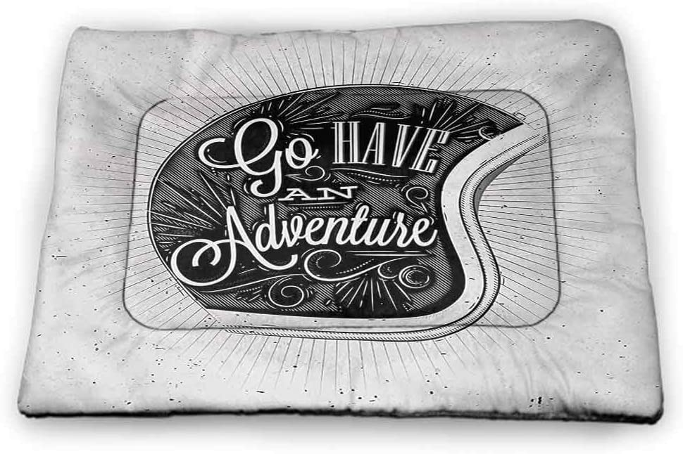 DayDayFun Vintage Pet Mat Bed Motorcycle Figure with Adventure Quote and Ornate Lines Contemporary New Graphic Design Pet Mats for Food and Water Grey