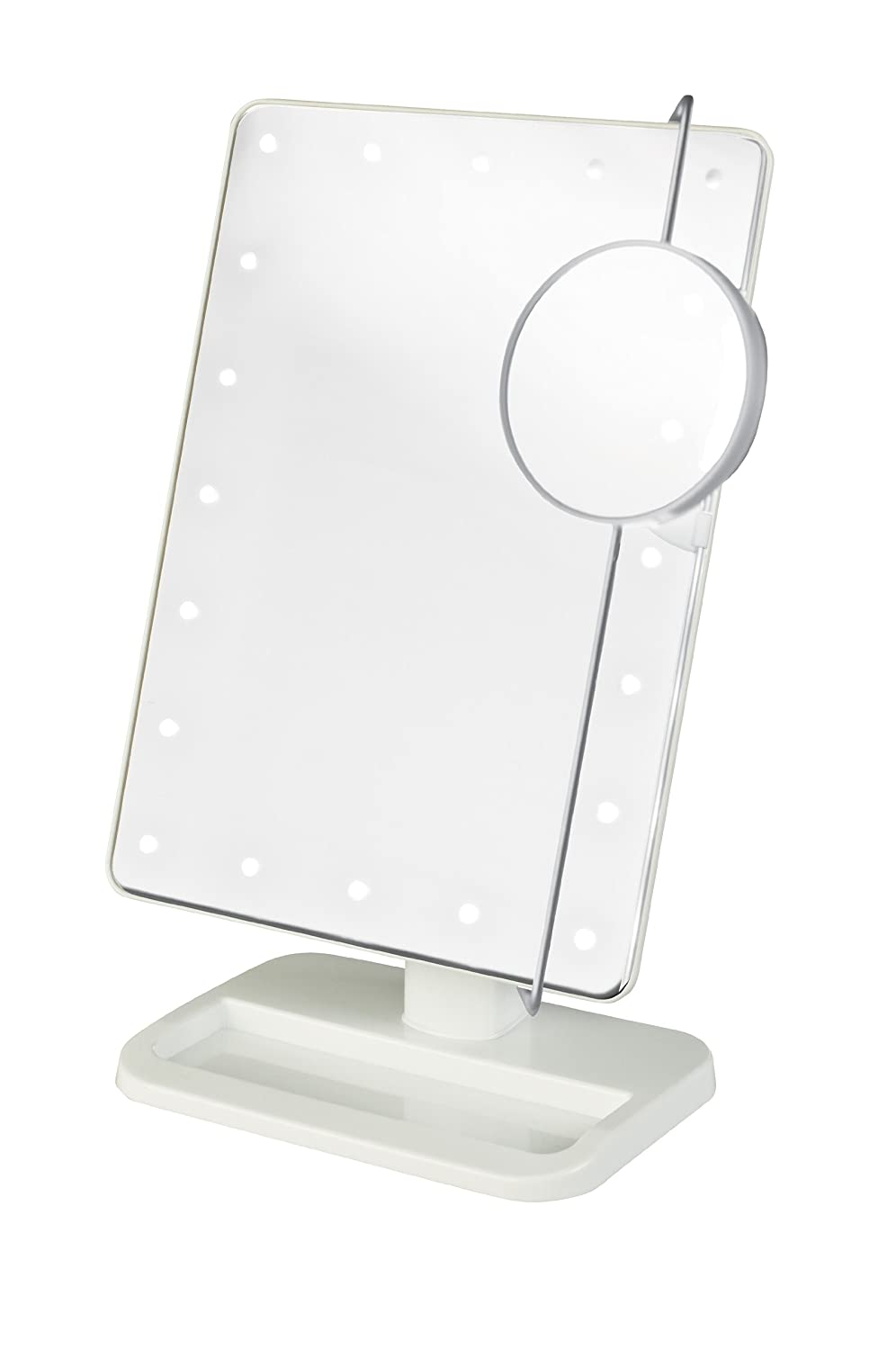 Jerdon JS811W 8 By 11 Rectangular Led Lighted Vanity Mirror With 10x Magnification Spot Mirror, White Finish