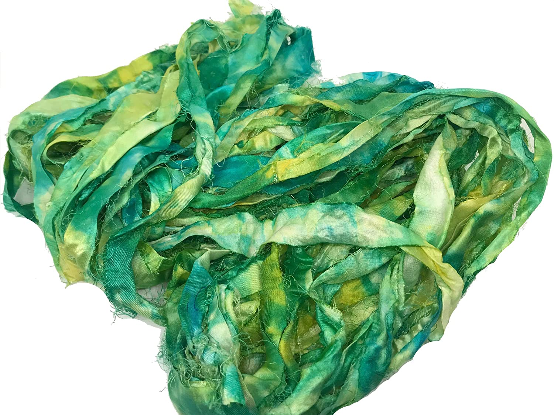 KnitSilk Super Bulky Recycled Sari Silk Ribbon Yarn in Green Ninja (Spray Dye) 50 GMS - 30 Yards | Duppioni Silk Ribbon | Taffeta Silk Ribbon (Pack of 1)