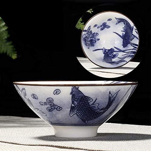 SHUHAN Tea Accessory Household Hand-painted Ceramics Kung Fu Tea Set Teacup Tea Bowl, Size:Large(Snow Plum Blossom) Teaware Sets (Color : Double Fishes)