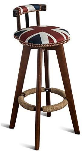 Haida 360° Rotating Modern Bar Stools Set, Brown Wood Base Legs for Breakfast Bar, Cartoon Burlap Cushion Home Barstools Dining Chair Furniture Armchair Backrest Lounge Chair 74cm (Color : C)