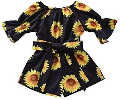 Kids Toddler Baby Girl Summer Clothes Floral Off Shoulder Romper Jumpsuit Flare Sleeve Bodysuit Overalls Shorts Outfits