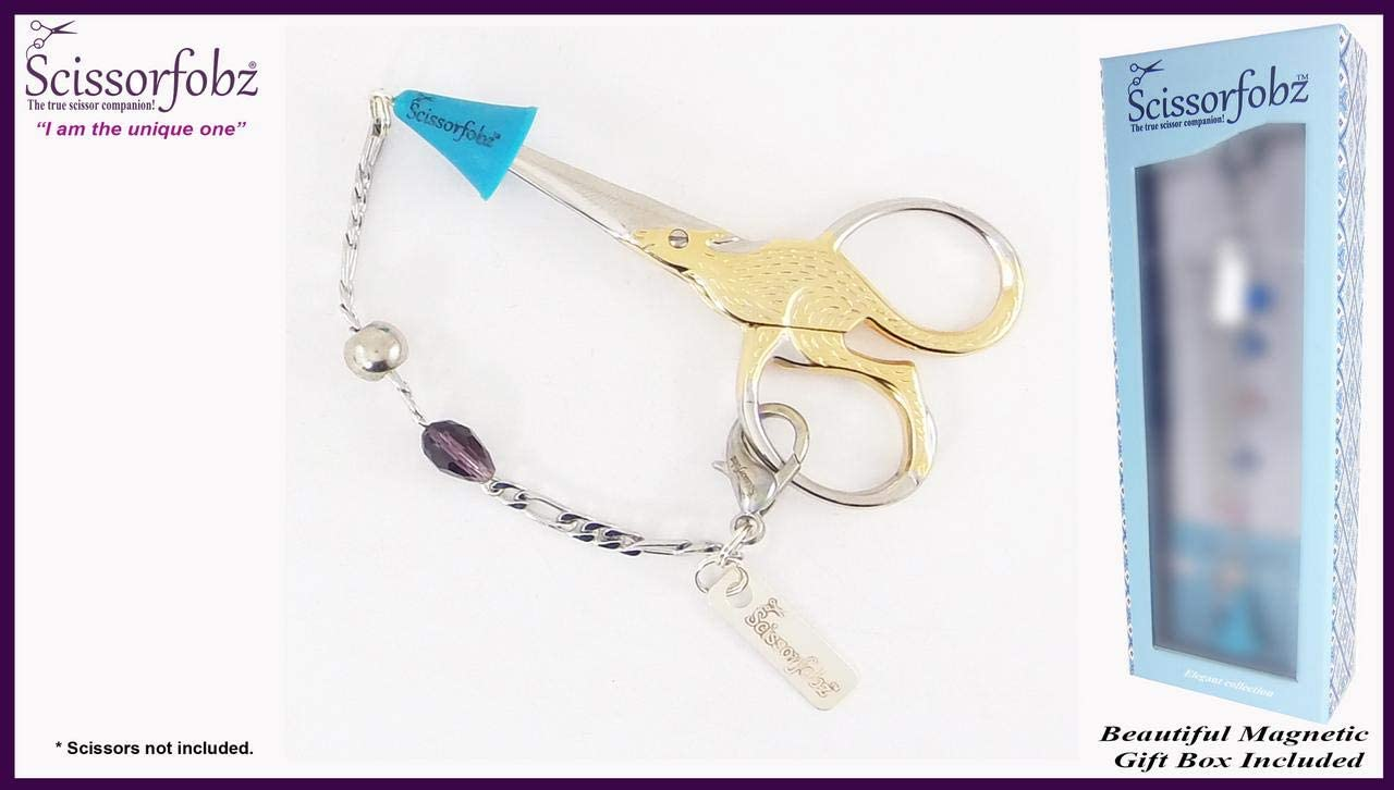 Scissors Fobs by SCISSORFOBZ-Elegant Collection with Sharp Scissors Point Protector for Added Safety- Quilters Sewers Needlework Embroidery Gifts. Beautiful Magnetic Gift Box Included. #E15000374