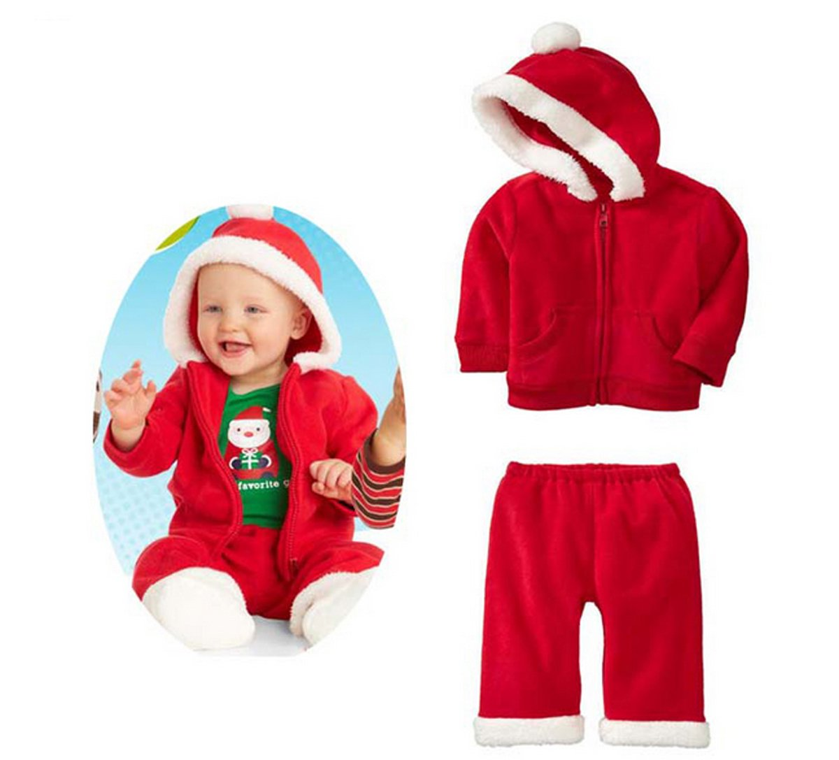 SOPO Baby Boy Christmas 2 Pc Outfits (Hoodie Jacket & Pants) 1-5Y Red (5t)