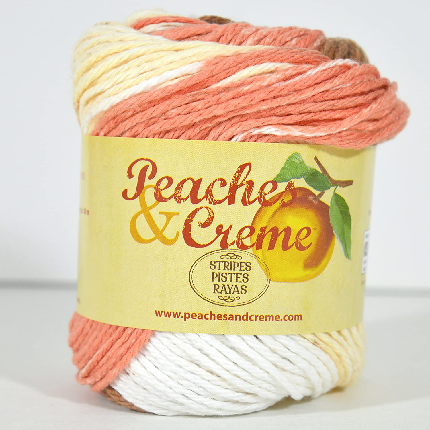 Spinrite Peaches & Creme (Cream) Cotton Yarn Stripes Sandstone Stripes 2 oz