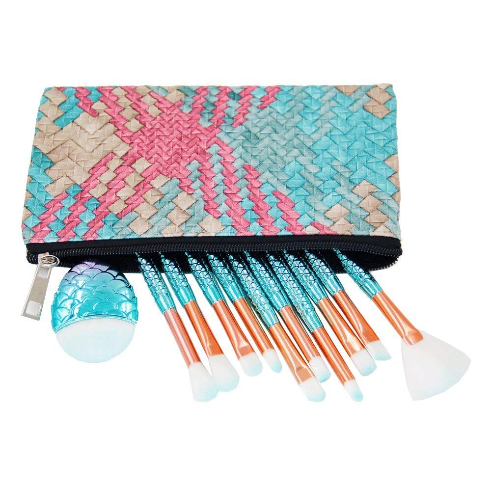 Mermaid Makeup Brushes Set with Bag Citicolor Chubby Fish Foundation Brush 11pcs Soft Nylon Bristles Beauty Make Up Kits, Blending Blush concealer Eye Face Lip Cosmetic Tools (Mermaid Shape 11pcs)