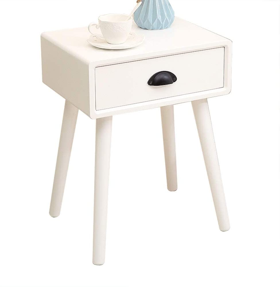 HYBB Nightstand Night Table Bedstand Pine Wood Drawer Side End Table Coffee Table Nightstand Phone Table Cabinet Sofa Table Solid Wood Leg Arc Handle Large Storage Easy Install A++++