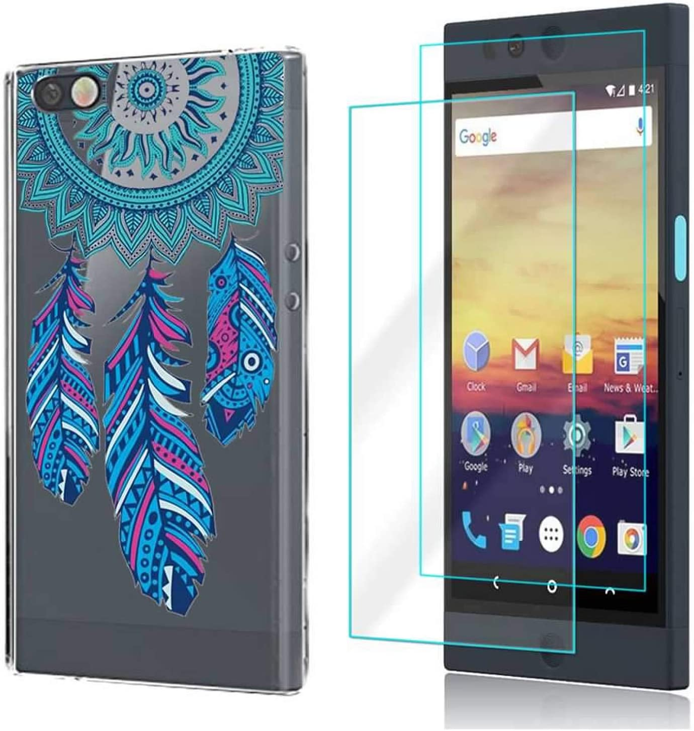 (3 in 1) for Nextbit Robin Case + 2 Pack Glass Screen Protector Slim Clear Soft TPU Silicone Phone Case Cover with (Feather) for Nextbit Robin Case