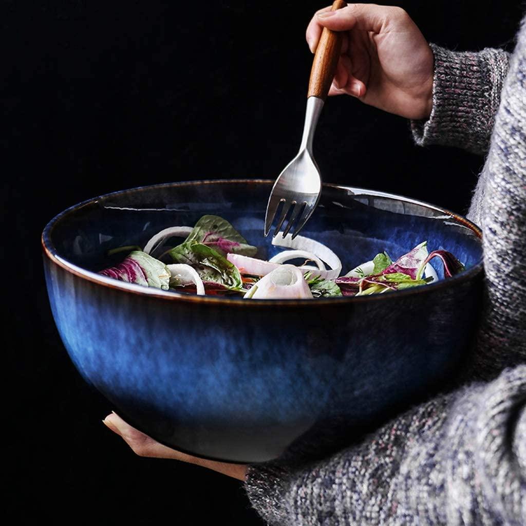9 Inch extra Large Stoneware Salad Bowl 81 oz Blue Round Glazed Ceramic Bowl Soup Bowls (Fork not Included)