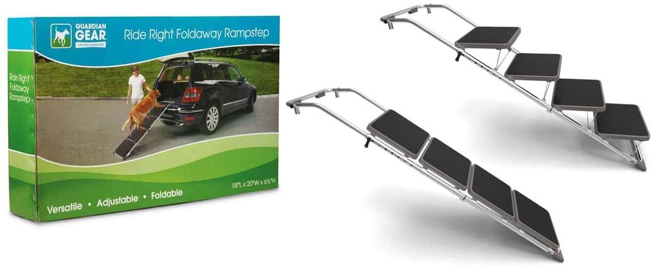MPP Pet Ramp Steps Foldaway Convertible Adjustable Helps Senior Pets into Vehicles