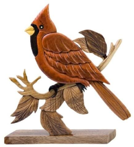 Cardinal Bird Intarsia Wood Table Top Home Decor Figurine Lodge