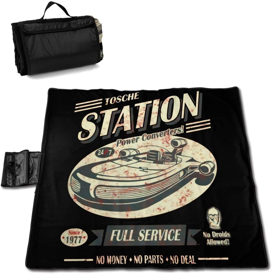 Htw Tosche Station Portable Printed Picnic Blanket Waterproof 59x57(in)