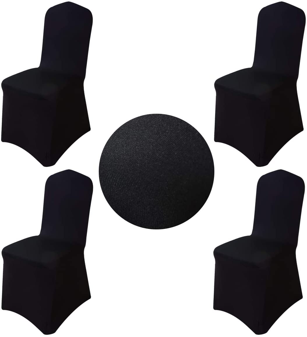 Gold Fortune Pack of 4 Spandex Elastic Banquet Chair Covers for Wedding Party Hotal Dinning Living Room Reception (Black)