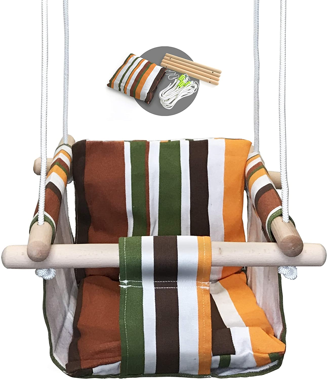 Baby Modern Hammock Swing | Swing For Babies With Warm Colors Canvas Design | Wood Frame And Polyester Fabric | Safe And Sturdy Set | Swing Seat Design For Small Toddlers | Hanging Baby Swing Chair