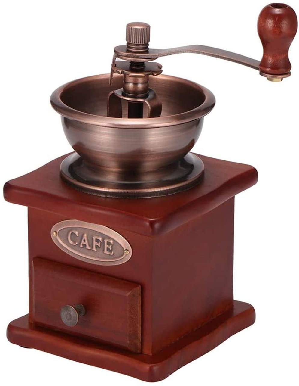 Wingsbro Manual Coffee Grinder Wood Vintage Antique Ceramic Hand Crank Coffee Mill With Adjustable Gear Setting Easy to clean