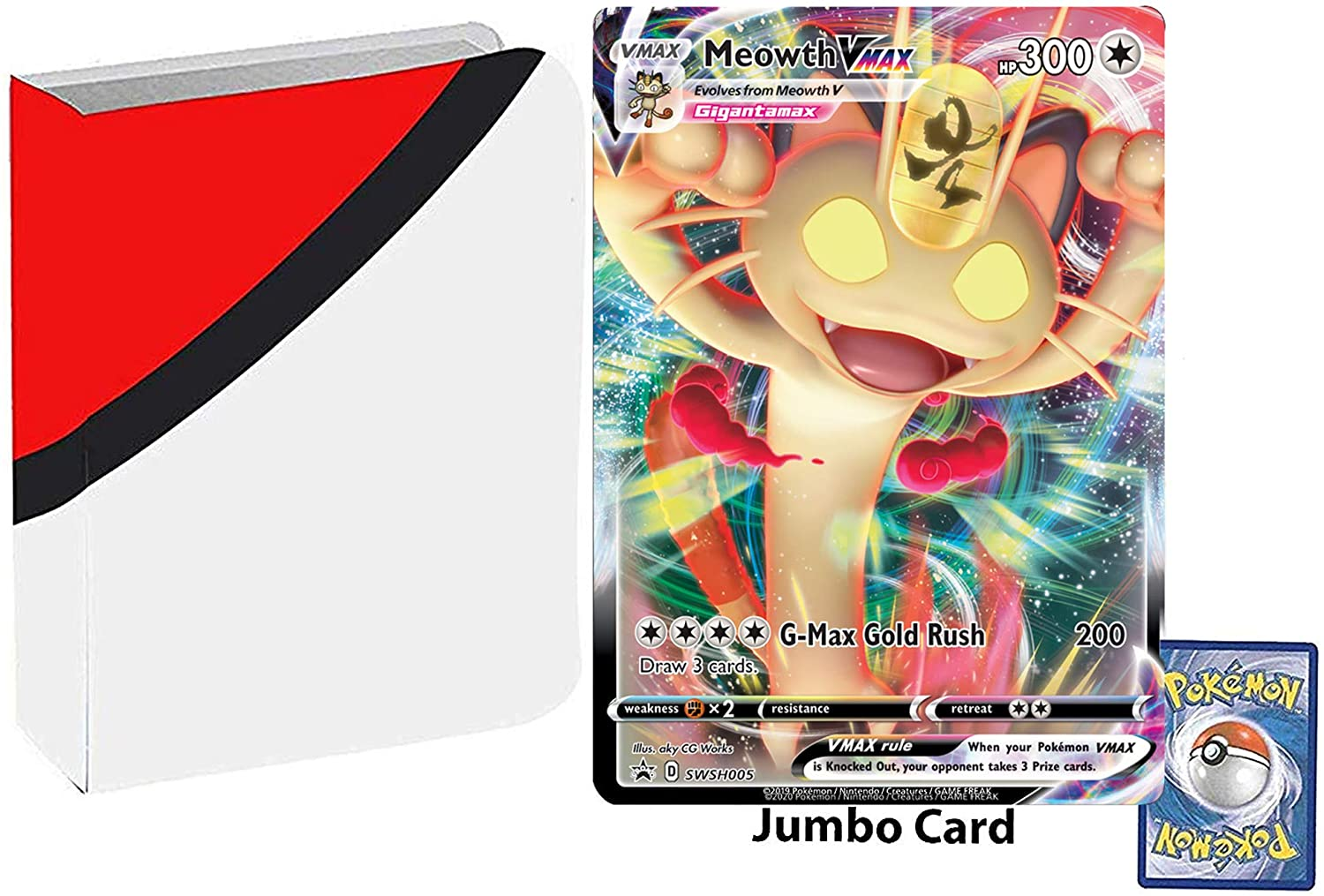 Totem World Bundle Jumbo Oversized Meowth VMAX Gigantamax Promo Pokemon Card SWSH005 with a Totem Jumbo Binder Collectors Album