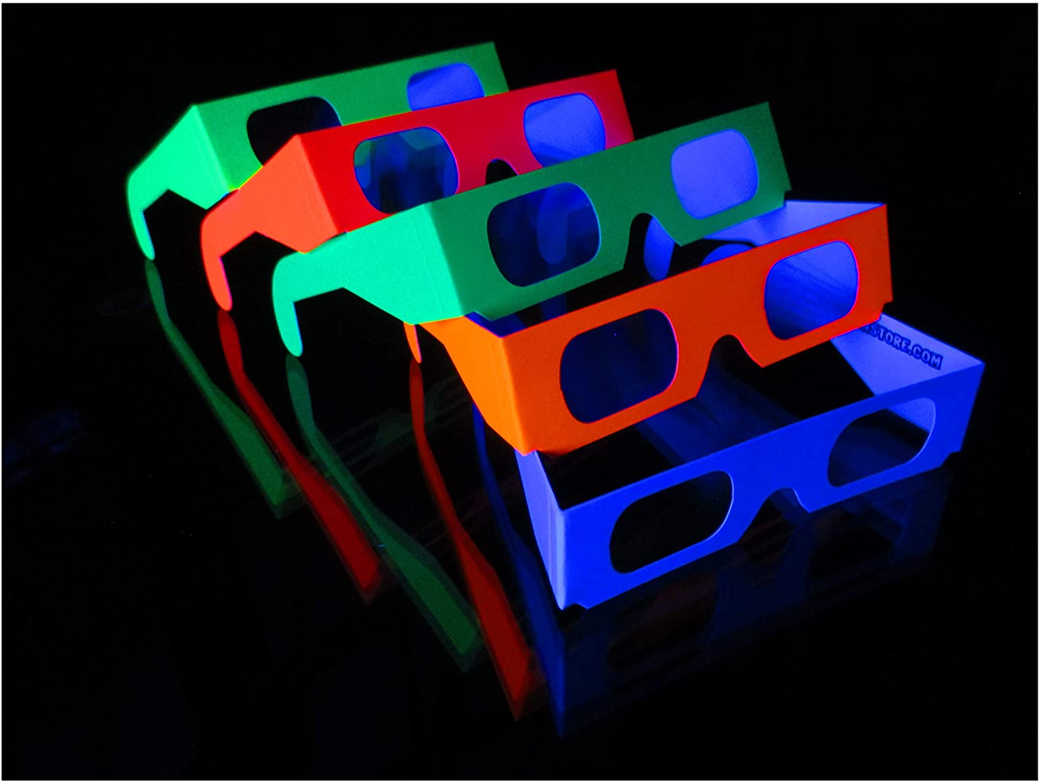 Fireworks Diffraction Glasses Mix - 40 Neon Frames / 10 Rainbow Hearts Glasses = 50 Paper Glasses