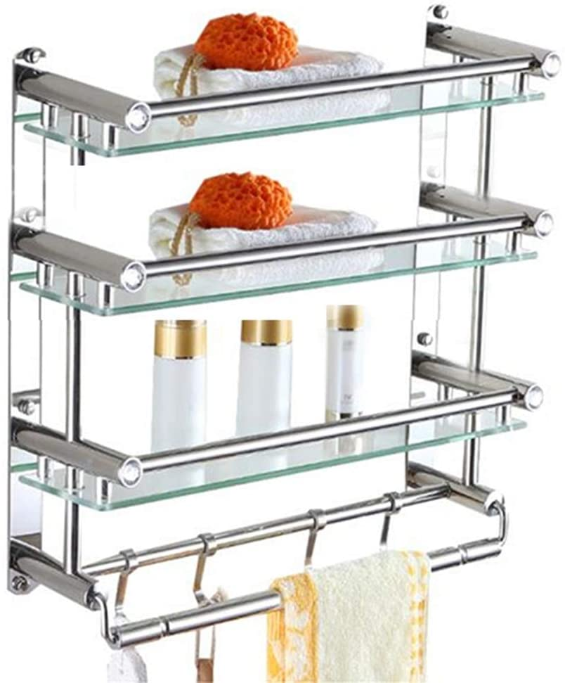 Mr. Bathroom Bathroom Shelf Shower Organiser Wall-Mounted Tempered Glass Tower Hanger Hook Up Stainless Steel Toilet 1/2/3 Tiers (Color : Layer 1, Size : 50cm)