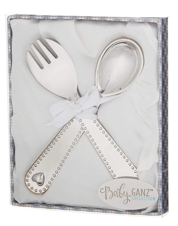Keepsake Silver Tone 4 inch Silver Plated Zinc Metal Eating Feeding Utensils Set