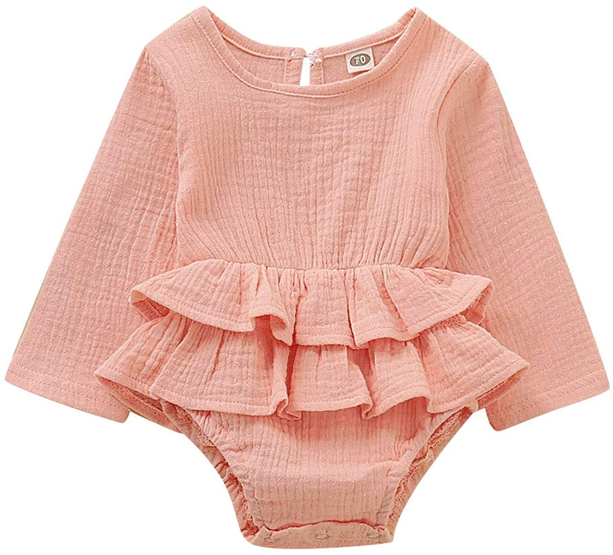 Happy Town Newborn Infant Baby Girl Cotton and Linen Romper Long Sleeve Jumpsuit Tutu Trim Toddler Girl Ruffle Outfit