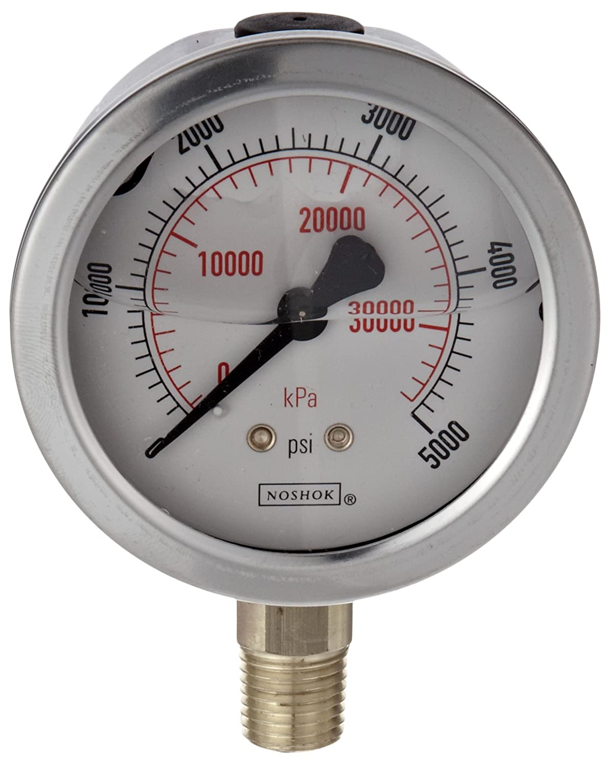 NOSHOK 900 Series Stainless Steel Liquid Filled Dual Scale Dial Indicating Pressure Gauge with Back Mount, 2-1/2
