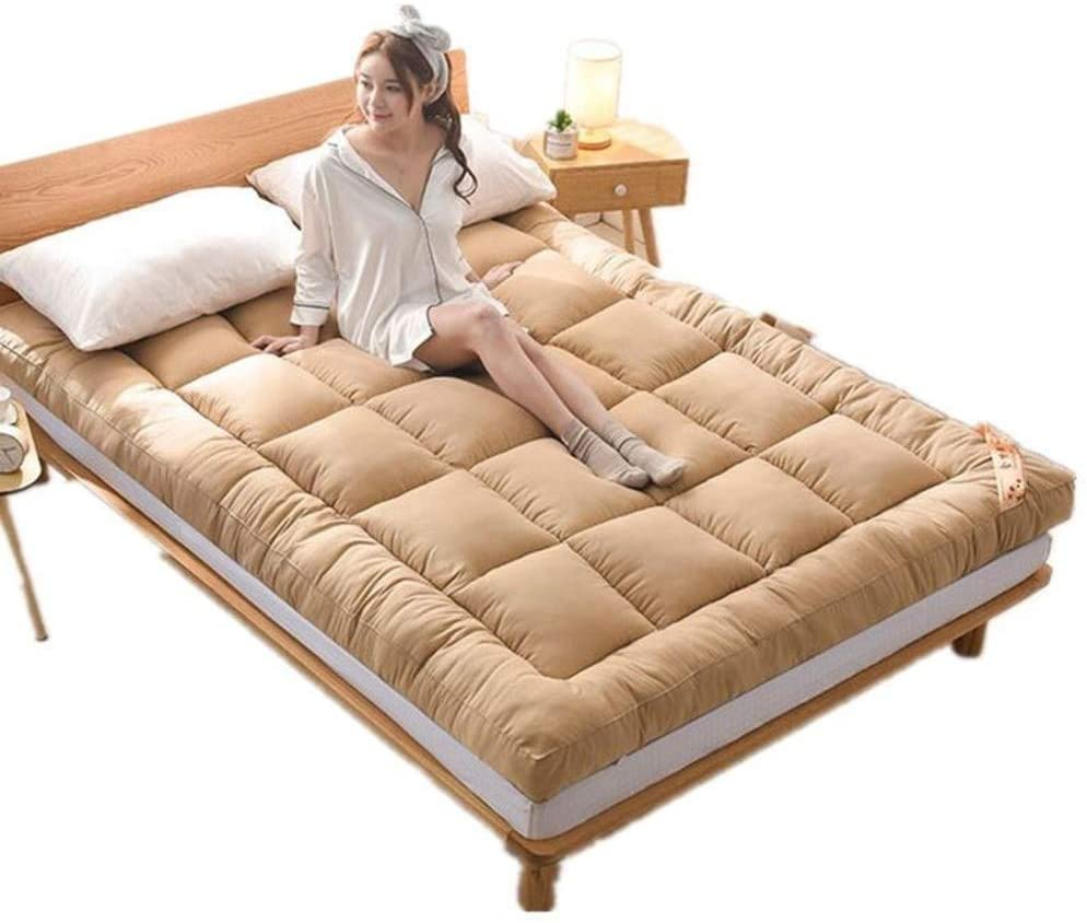 JY&WIN Thick Mattress Topper,Premium Quilted Japanese Floor Mattress Soft Breathable Foldable Mattress Reversible High Resilience-Light Tan Full