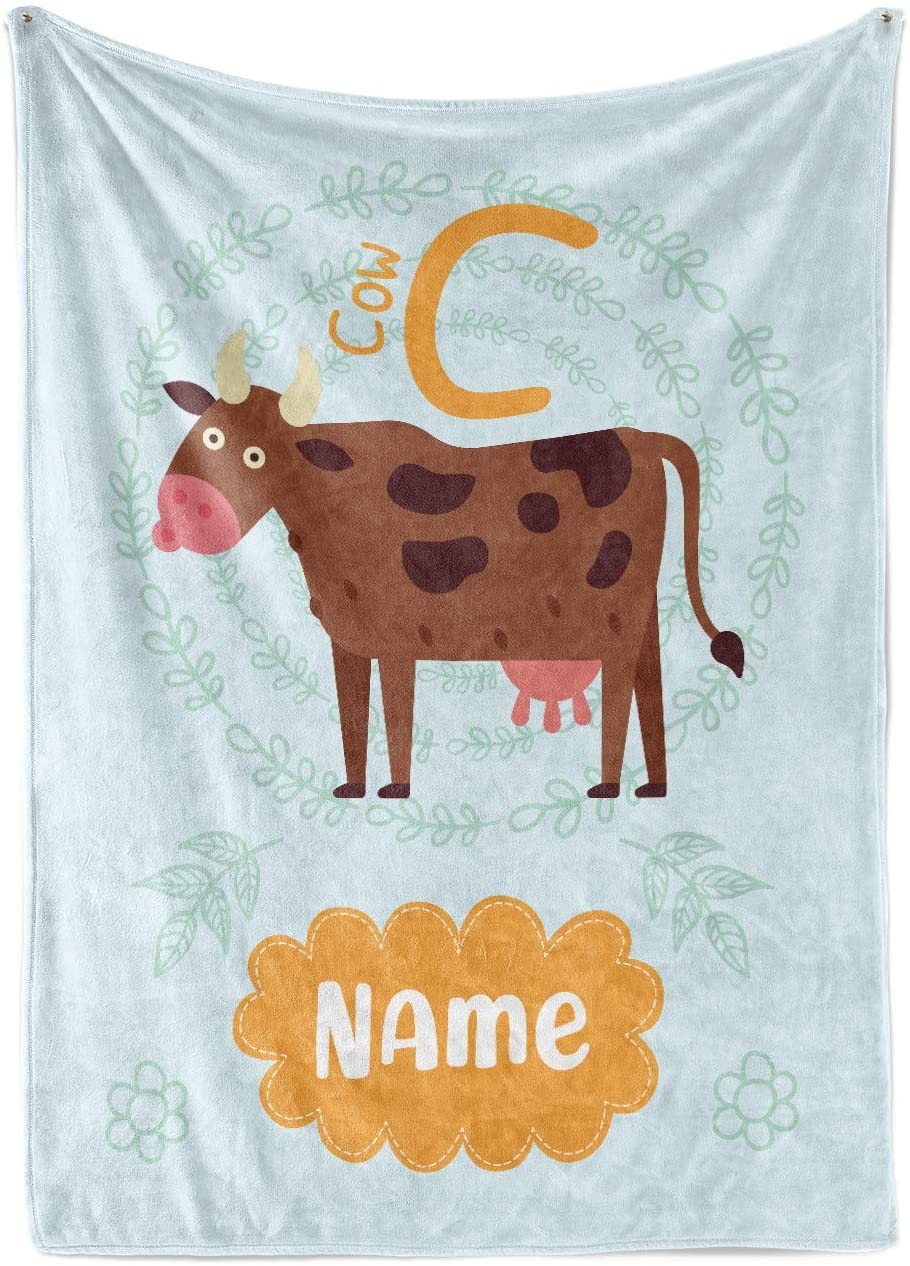 Personalized Alphabet Blankets for Boys and Girls - C is for Cow - Custom Warm Lightweight Fleece Throw Blanket for Kids Toddlers Babies Learning ABC Letters