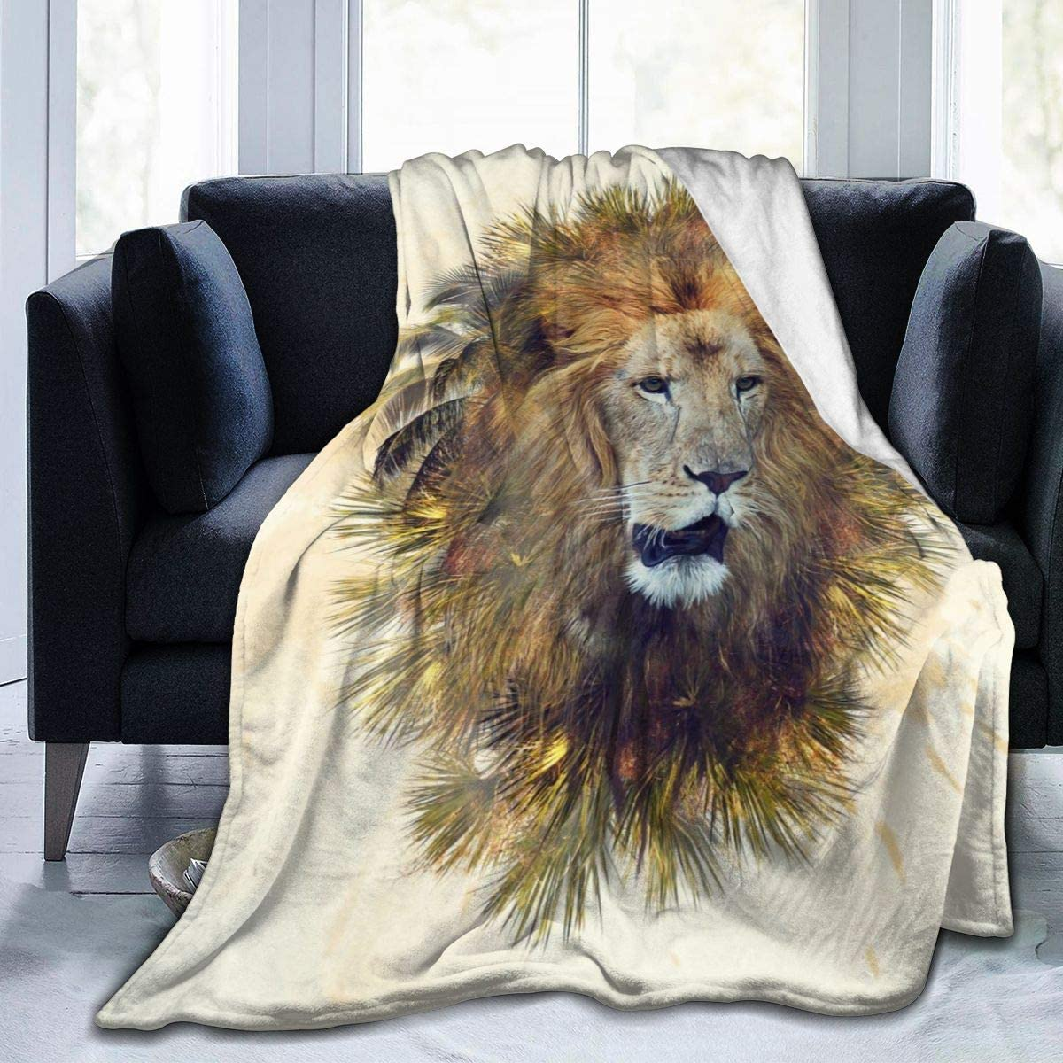 Micro Fleece Plush Soft Baby Blanket Double Exposure Effect Of Lion Head Palm Trees Fluffy Warm Toddler Bed/Crib Blanket Lightweight Flannel Daycare Nap Kids Sleeping Tummy Time Throw Blanket Girls Bo