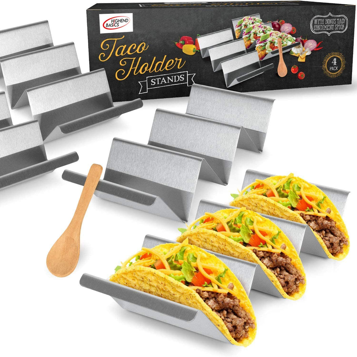 Highend Basics 4 Pack Heavy Duty Taco Holder Stands w/Handles and Serving Spoon - Dishwasher & Oven Safe