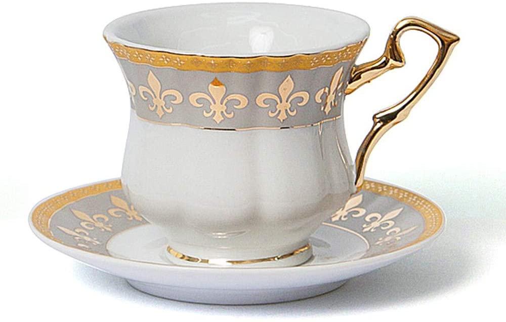 Euro Porcelain 12-Pc. Fleur-de-Lis Tea Cup Coffee Set, Premium Bone China, 24K Gold-Plated, Complete Service for 6, Original Czech Tableware