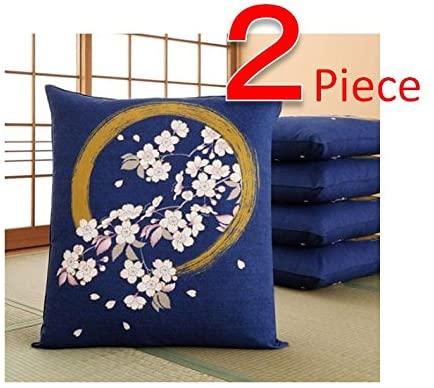 Zabuton - Japanese Floor Cushion Cover (2pieces) - Enso Circle with Sakura